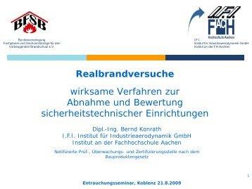 Realbrandversuche - Dipl.-Ing. Bernd Konrath - BFSB eV