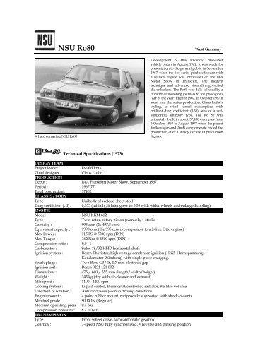 NSU Ro80 - Motorsports Almanac
