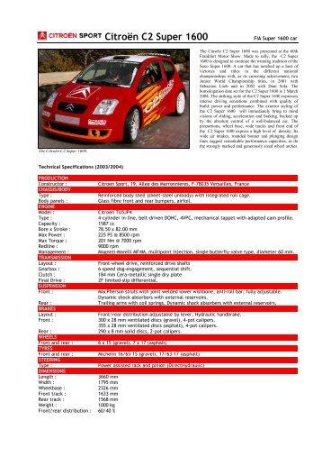 03 Citroën C2 Super 1600 - Motorsports Almanac