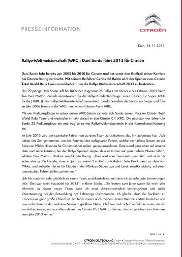 Rallye-Weltmeisterschaft (WRC): Dani Sordo fährt 2013 für Citroën