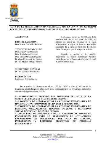 acta de la sesion ordinaria celebrada por la junta de gobierno local ...