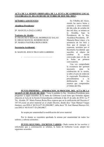 ACTA DE LA SESION ORDINARIA DE LA JUNTA ... - Villalba del Alcor