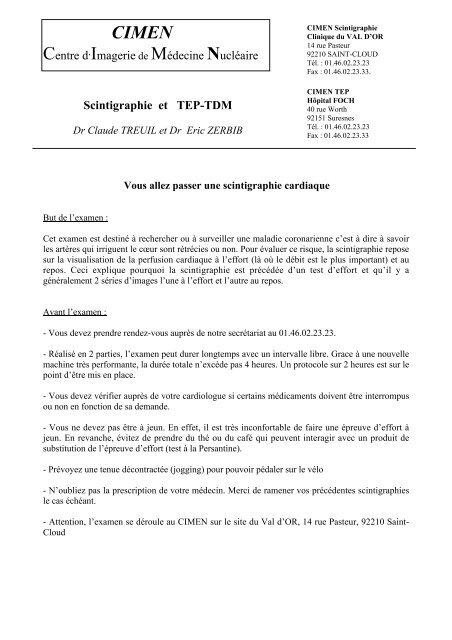 Scintigraphie Cardiaque Cimen Scintigraphie