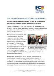 FCm Travel Solutions unterzeichnet Kinderschutzkodex - ECPAT ...