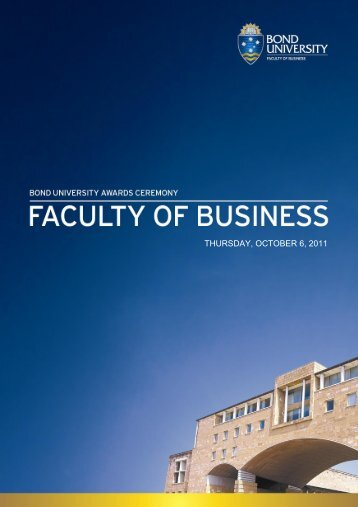 THURSDAY, OCTOBER 6, 2011 - Bond University