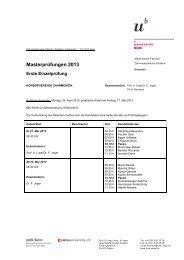 Masterprüfungen 2013 - zahnmedizinische kliniken zmk bern