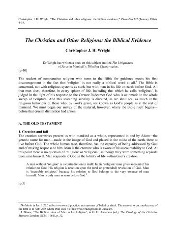 The Christian and Other Religions: the Biblical Evidence