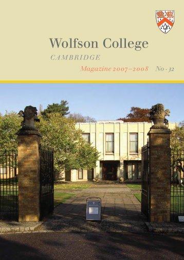 CAMBRIDGE Magazine 2007–2008 No . 32 - Wolfson College ...