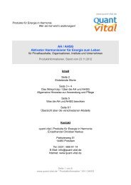 AH / AHSG Aktivator Harmonisierer für Energie zum ... - quant vital