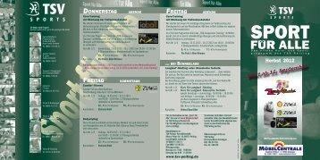 Flyer TSV-Peiting Sportprogramm Herbst 2012