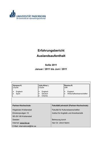 Erfahrungsbericht Auslandsaufenthalt - Universität Paderborn