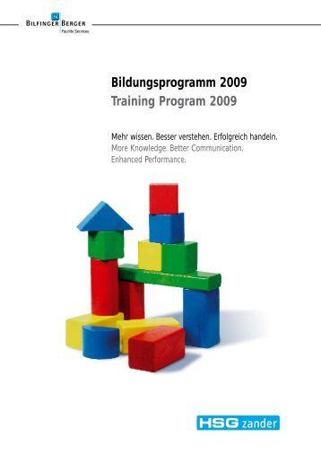 Bildungsprogramm 2009 Training Program 2009 - HSG Zander ...