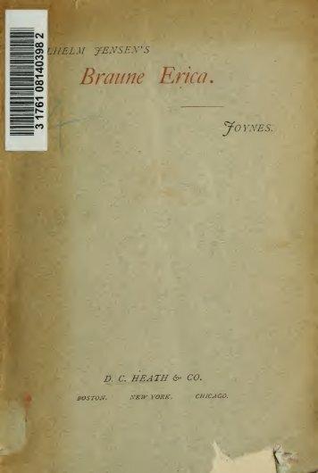 Die braune Erica, Novelle;