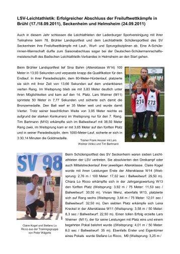 LSV-Leichtathletik: Erfolgreicher Abschluss der Freiluftwettkämpfe in ...