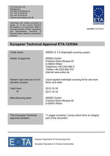 ETA120364 Ardex S 1-K - ETA-Danmark