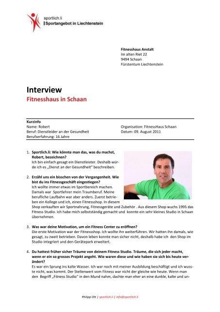 Interview Fitnesshaus In Schaan Sportlich Li