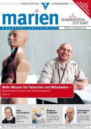 Mehr Wissen für Patienten und Mitarbeiter – - Marienhospital Stuttgart