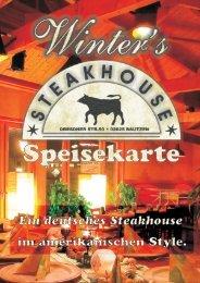 Speisekarte Steakhouse and HG - Winters Steakhouse