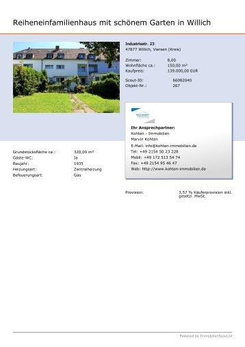 Reiheneinfamilienhaus mit schönem Garten in Willich - Kohten ...