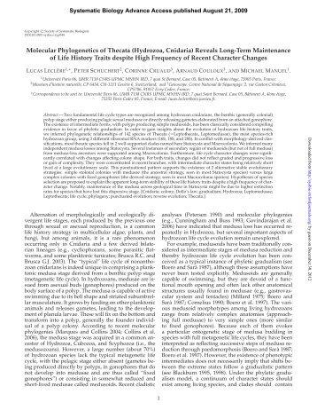 Molecular Phylogenetics of Thecata (Hydrozoa, Cnidaria) Reveals ...
