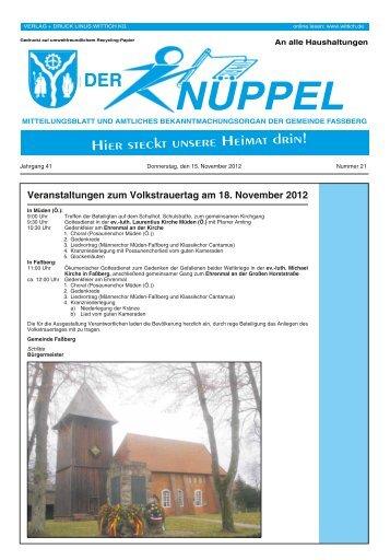 Veranstaltungen zum Volkstrauertag am 18. November 2012