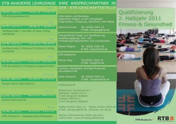Qualifizierung 2. Halbjahr 2011 Fitness-& Gesundheit - RTB