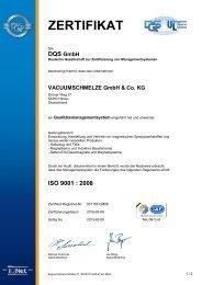 ISO 9001 : 2008 - VACUUMSCHMELZE GmbH & Co. KG