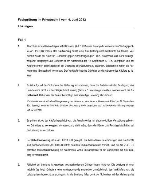 Lösungen Der Prüfung Privatrecht I Fs 2012pdf