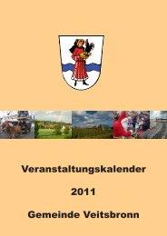 Veranstaltungskalender 2011 Gemeinde Veitsbronn