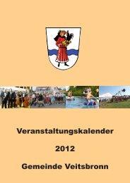 Veranstaltungskalender 2012 Gemeinde Veitsbronn