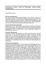 Promotion am Lehrstuhl für Entwicklungspsychologie / Center for ...