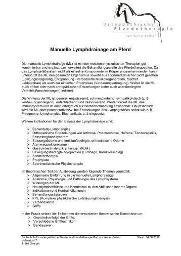 Manuelle Lymphdrainage am Pferd - Barbara Welter-Böller