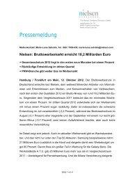 Nielsen: Bruttowerbemarkt erreicht 18,2 Milliarden Euro - PresseBox