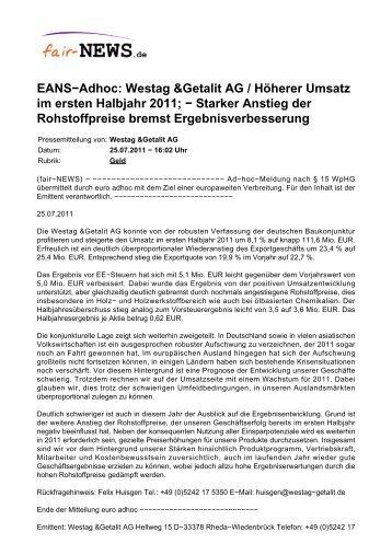 Westag &Getalit AG / Höherer Umsatz im ersten ... - fair-NEWS.de