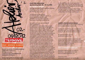 kiNDERAkADEMiE 14 - 18 UhR - Atelier und Archiv Klemke