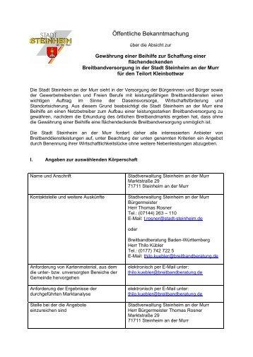 Ausschreibung Kleinbottwar - Stadt Steinheim an der Murr