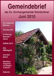 Gemeindebrief Juni 2010 - Evangelische Kirchengemeinde ...