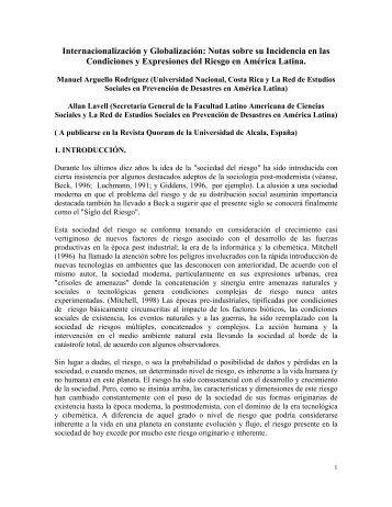 Internacionalización y Globalización: Notas sobre su ... - La RED
