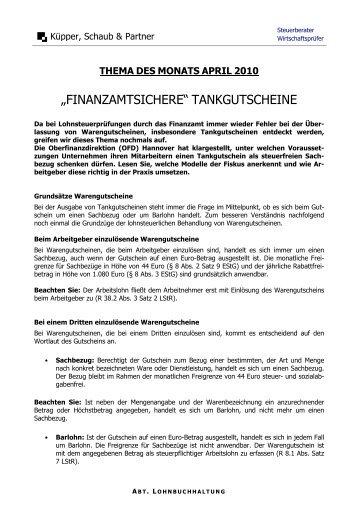 """FINANZAMTSICHERE"" TANKGUTSCHEINE - kuepper-schaub.de"