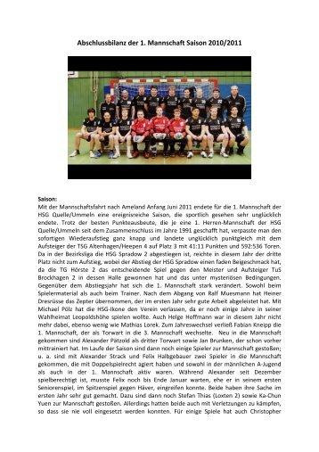 Abschlussbilanz der 1. Mannschaft Saison 2010.2011 - HSG CVJM ...
