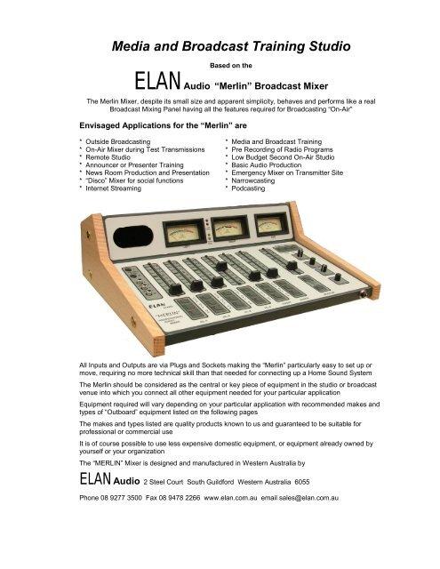 Broadcast Mixer - Elan Audio