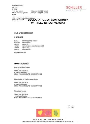 DECLARATION OF CONFORMITY WITH EEC DIRECTIVE 93/42