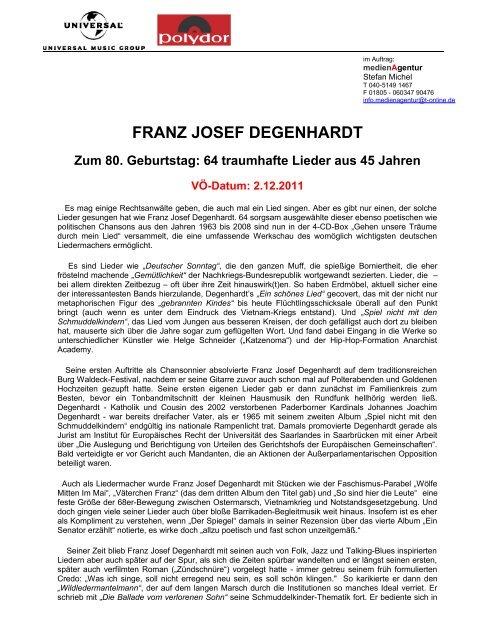 Franz Josef Degenhardt Zum 80 Geburtstag Medienagentur