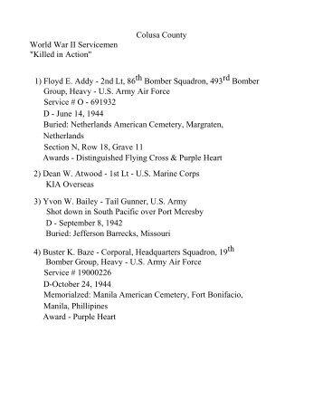 "Colusa County World War II Servicemen ""Killed in Action"" 1) Floyd E ..."
