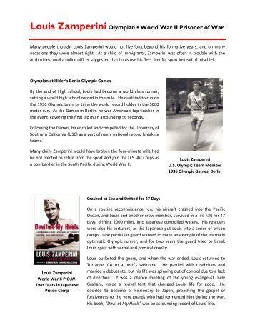 Louis ZamperiniOlympian World War II Prisoner of ... - Monrovia Reads