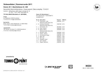 Südwestfalen | Sommerrunde 2011 - TC Deuz