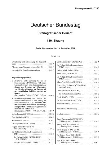 Stenografischer Bericht 130. Sitzung - Deutscher Bundestag