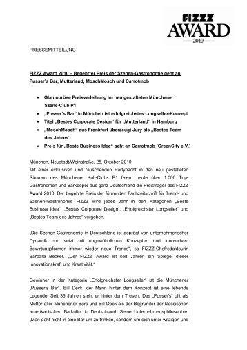 Pressemitteilung - FIZZZ Award 2010