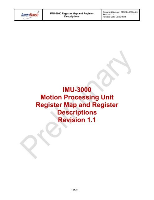 IMU-3000 Motion Processing Unit Register Map and