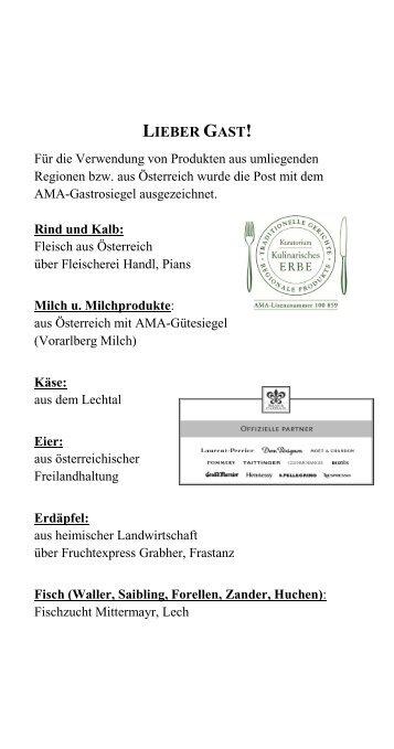 speisenangebot - Hotel Gasthof Post Lech